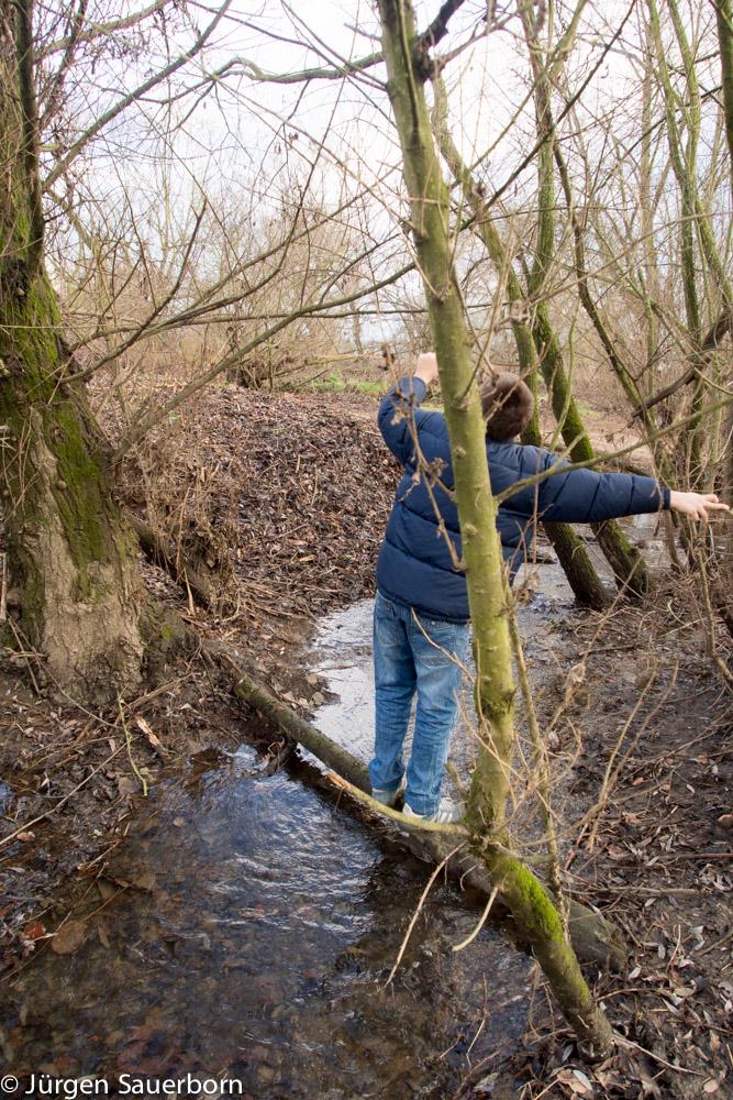 Sohnemann versucht die Überquerung, Frau hilft begeistert, Vatern weigert sich angesichts Gewichts und teurer Kamera :-)